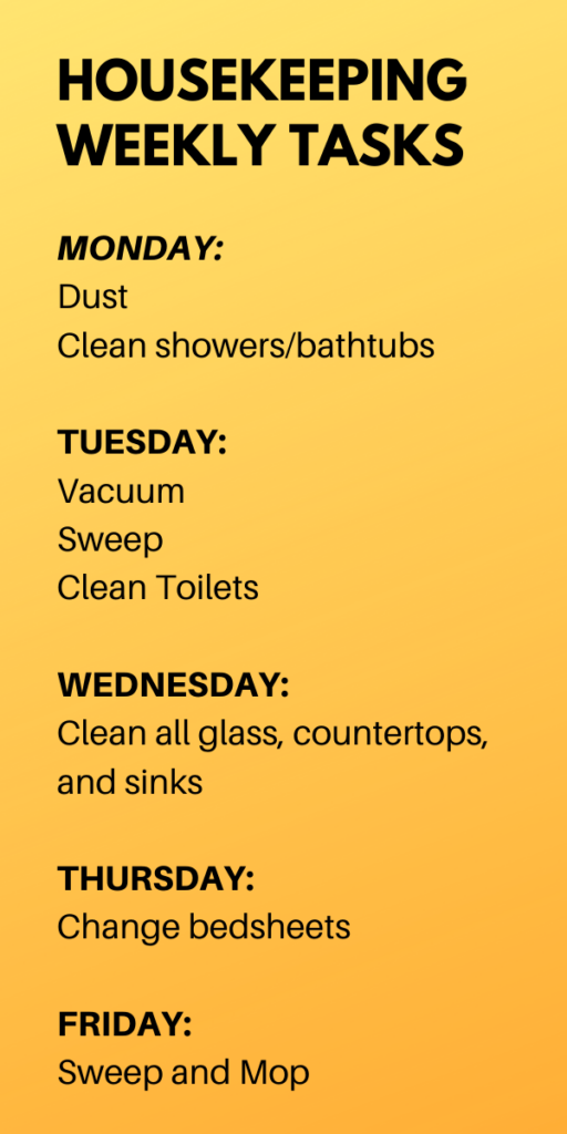 HOUSEKEEPING WEEKLY SCHEDULE