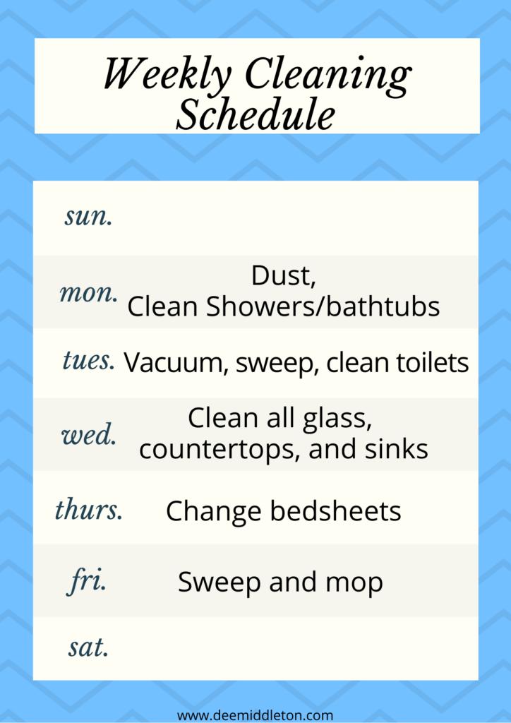 housekeeping weekly schedule