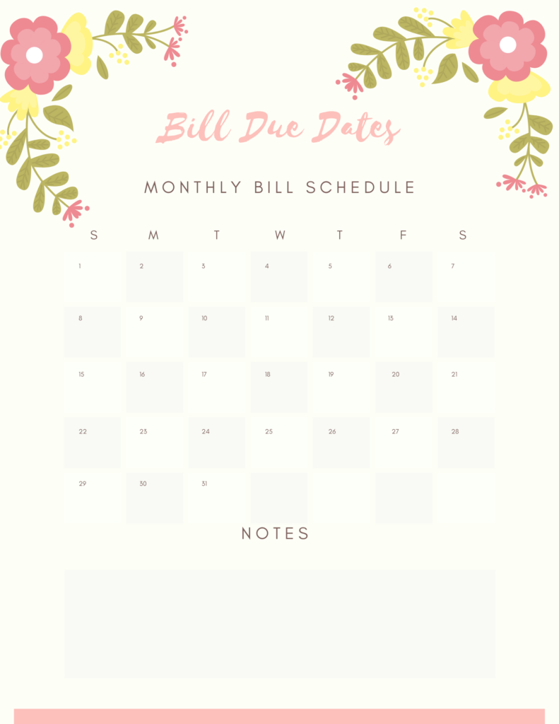 Bill Due Date Printable Calendar Page