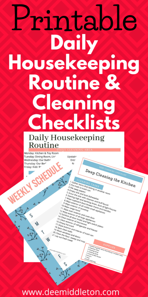 Housekeeping Schedule for Your Home, Housekeeping Daily Assignment Sheet,Housekeeping Schedule Printable,Printable House Cleaning Checklist